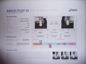 Asics foot id - mon résultat