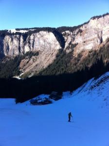 montée du crôt, en ski de randonnée, par la piste !